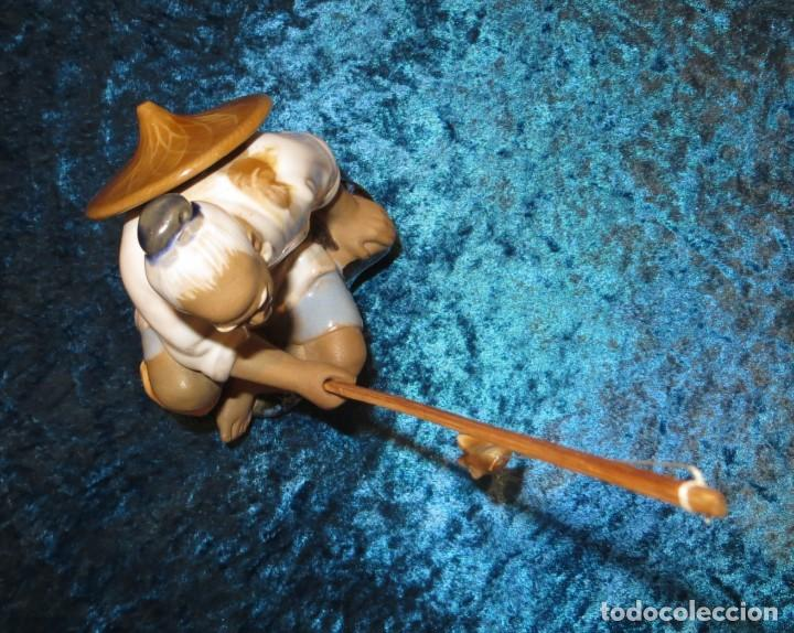 Antigüedades: Figura pescador cerámica vintage Shiwan China circa 1960-1970 - Foto 19 - 261774705