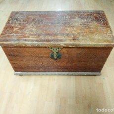 Antigüedades: BAÚL MADERA TALLADA DIBUJOS ÁRABES PARA RESTAURAR. Lote 261801375