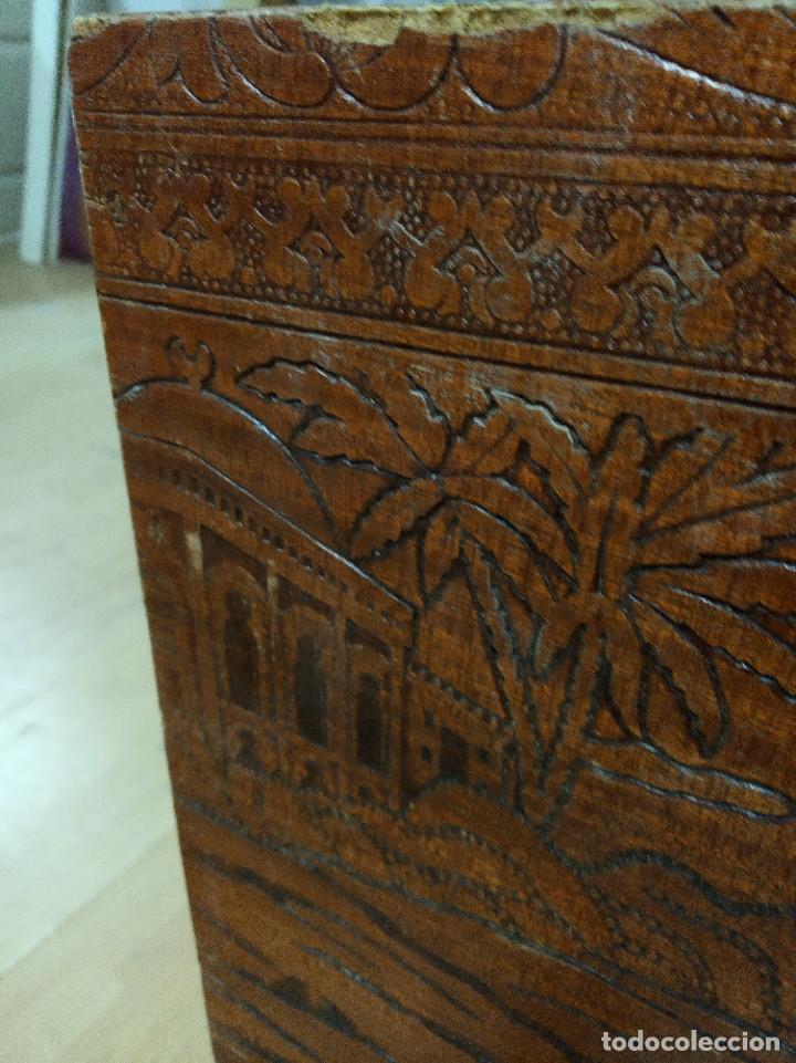 Antigüedades: Baúl madera tallada dibujos árabes para restaurar - Foto 5 - 261801375