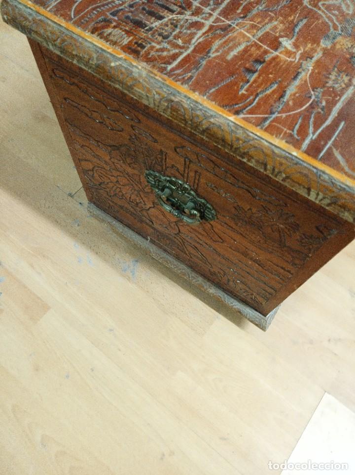 Antigüedades: Baúl madera tallada dibujos árabes para restaurar - Foto 20 - 261801375