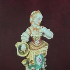 Antigüedades: PORCELANAS HISPANIA - DAMA CON CESTA DE FRUTAS.. Lote 261828370