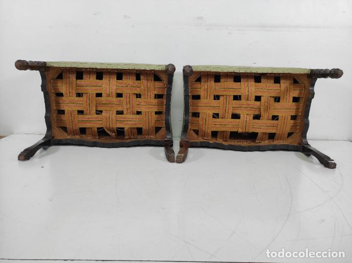 Antigüedades: Pareja de Banquetas Mallorquinas - Taburetes en Madera de Jacarandá, Marquetería de Hueso - S. XVIII - Foto 22 - 261917985