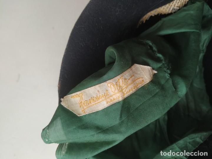 Antigüedades: Antiguo sombrero gorro cloché de fieltro negro. Germaine Ortiz, modes. Años 20. Descosido - Foto 7 - 261938900