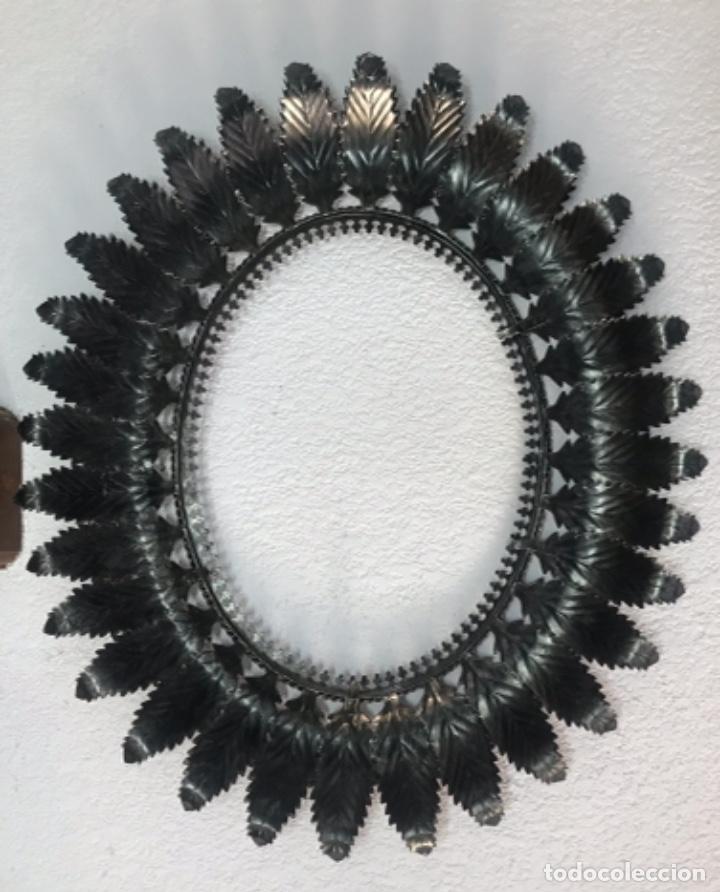 Antigüedades: Precioso Antiguo Marco para espejo sol metal , conserva su patina y satinado buen estado - Foto 15 - 261948595
