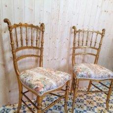 Antigüedades: ANTIGUA PAREJA DE SILLAS EN PAN DE ORO. Lote 261959350