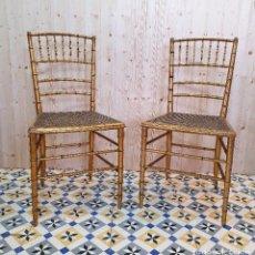 Antigüedades: ANTIGUA PAREJA DE SILLAS EN PAN DE ORO. Lote 261959475