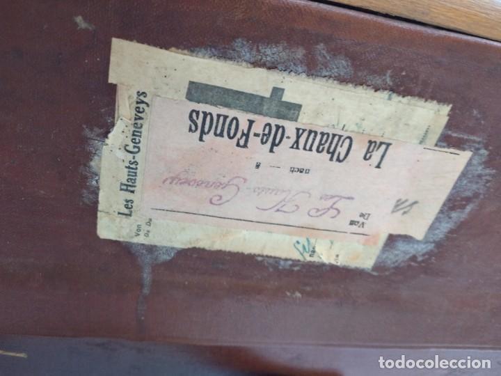 Antigüedades: Antiguo baúl de viaje. madera forrado. - Foto 5 - 261960410