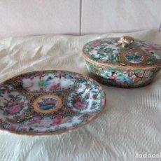 Antigüedades: ANTIGUA JABONERA Y JOYERO DE PORCELANA CHINA PINTADO A MANO, AÑOS 10/20. Lote 261977325