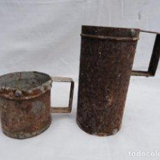 Antigüedades: 2 PEQUEÑAS MEDIDAS DE LATÓN.. Lote 261991875