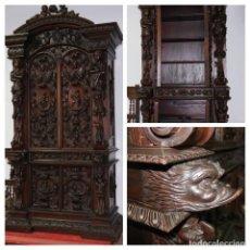 Antigüedades: MAGNIFICO ARMARIO TALLADO DEL SIGLO XIX. MAGNIFICENT19TH CENTURY HAND CARVED CUPBOARD. Lote 51342765