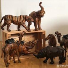 Antigüedades: LOTE 7 ANIMALES DE CUERO CIRCA 1.950. Lote 262041790