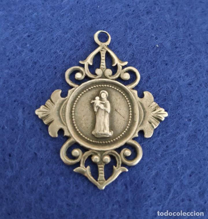 BONITA MEDALLA MODERNISTA DE PLATA CON SAN ANTONIO DE PADUA (Antigüedades - Religiosas - Medallas Antiguas)