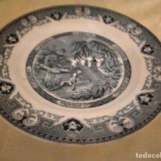 Antigüedades: ANTIGUO PLATO DE PORCELANA YEDDO U & G SARREGUEMINES, PAISAJE ORIENTAL.. Lote 262055030