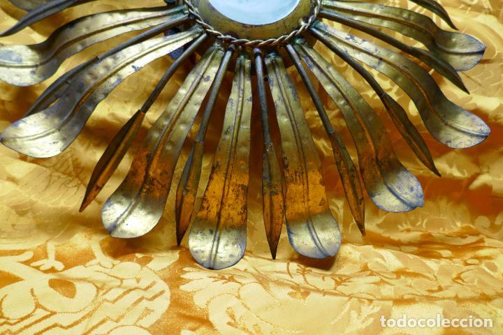 Antigüedades: PRECIOSO ESPEJO SOL DE BRONCE, TOTAL 50 CM - Foto 6 - 262070195