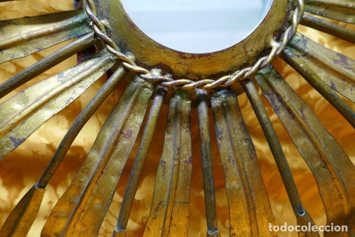 Antigüedades: PRECIOSO ESPEJO SOL DE BRONCE, TOTAL 50 CM - Foto 7 - 262070195