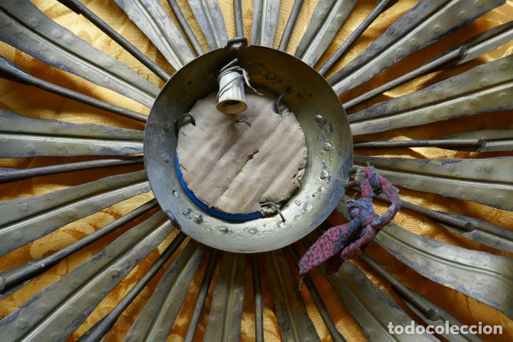 Antigüedades: PRECIOSO ESPEJO SOL DE BRONCE, TOTAL 50 CM - Foto 11 - 262070195
