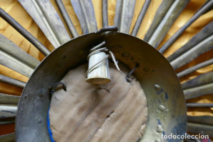 Antigüedades: PRECIOSO ESPEJO SOL DE BRONCE, TOTAL 50 CM - Foto 13 - 262070195
