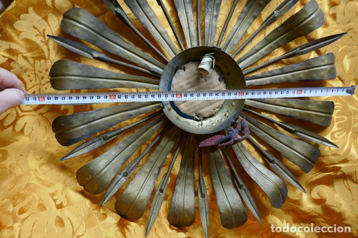 Antigüedades: PRECIOSO ESPEJO SOL DE BRONCE, TOTAL 50 CM - Foto 18 - 262070195