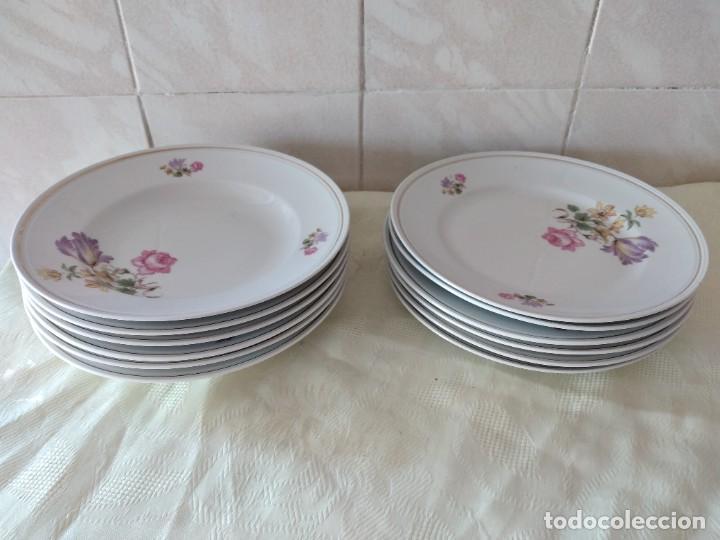 Antigüedades: Lote de 12 platos llanos y hondos de porcelana viribus unitis VSK USC,germany - Foto 2 - 262130010
