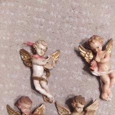 Antigüedades: LOTE 4 ANGELITOS POLICROMADOS. Lote 262143525