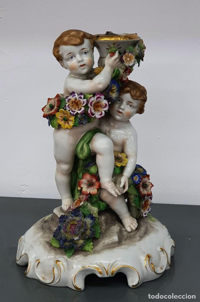 CANDELABRO PORCELANA ALEMANA - VON SCHIERHOLZ - 26 CM. (Antigüedades - Porcelana y Cerámica - Alemana - Meissen)