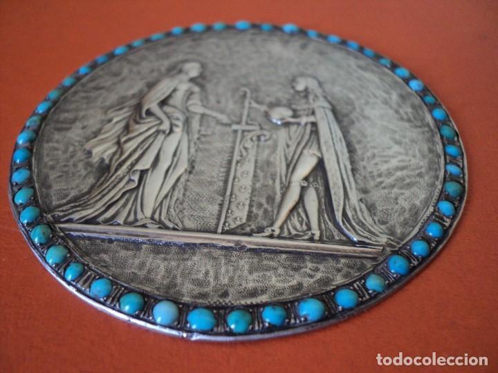 Antigüedades: muy antiguo medallón o placa plata 900 turquesas Felipe V y Isabel de Farnesio siglo XVIII - Foto 5 - 262150450