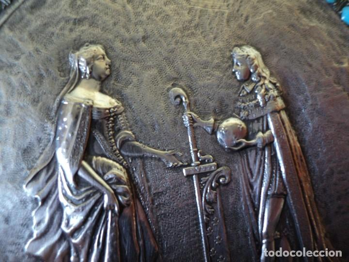 Antigüedades: muy antiguo medallón o placa plata 900 turquesas Felipe V y Isabel de Farnesio siglo XVIII - Foto 8 - 262150450