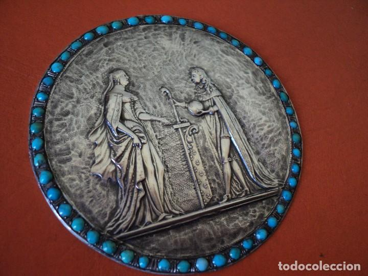 Antigüedades: muy antiguo medallón o placa plata 900 turquesas Felipe V y Isabel de Farnesio siglo XVIII - Foto 10 - 262150450