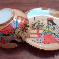 Antigüedades: ANTIGUO CONJUNTO DE TAZA Y PLATO DE PORCELANA FINA JAPONESA CÁSCARA DE HUEVO, GRAN REFLEJO.. Lote 262209925