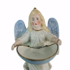 Antigüedades: BENDITERA EN PORCELANA BISCUIT. BISQUE PORCELAIN HOLLY FOUNTAIN. CA 1920 14X7CM. Lote 262290160