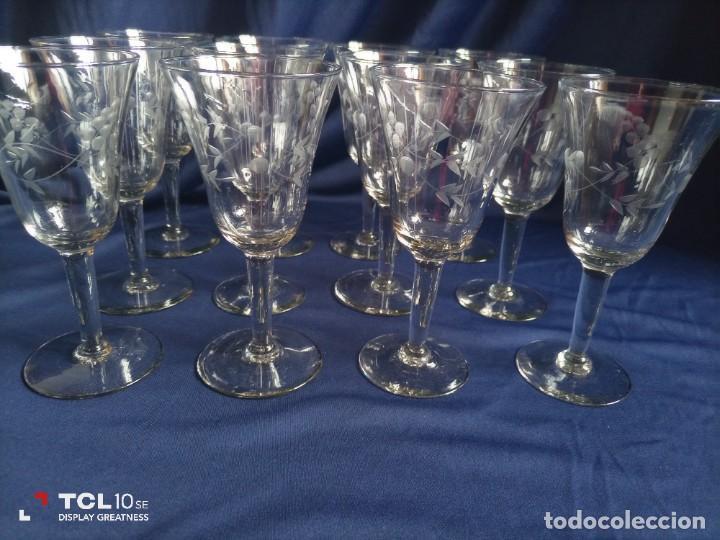 12 COPAS ANTIGUAS CRISTAL TALLADO (Antigüedades - Cristal y Vidrio - Otros)