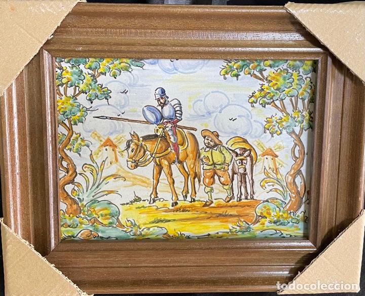 1 AZULEJO DE DON QUIJOTE Y SANCHO CON MARCO INCLUIDO PINTADOS A MANO DE TALAVERA (Antigüedades - Porcelanas y Cerámicas - Talavera)