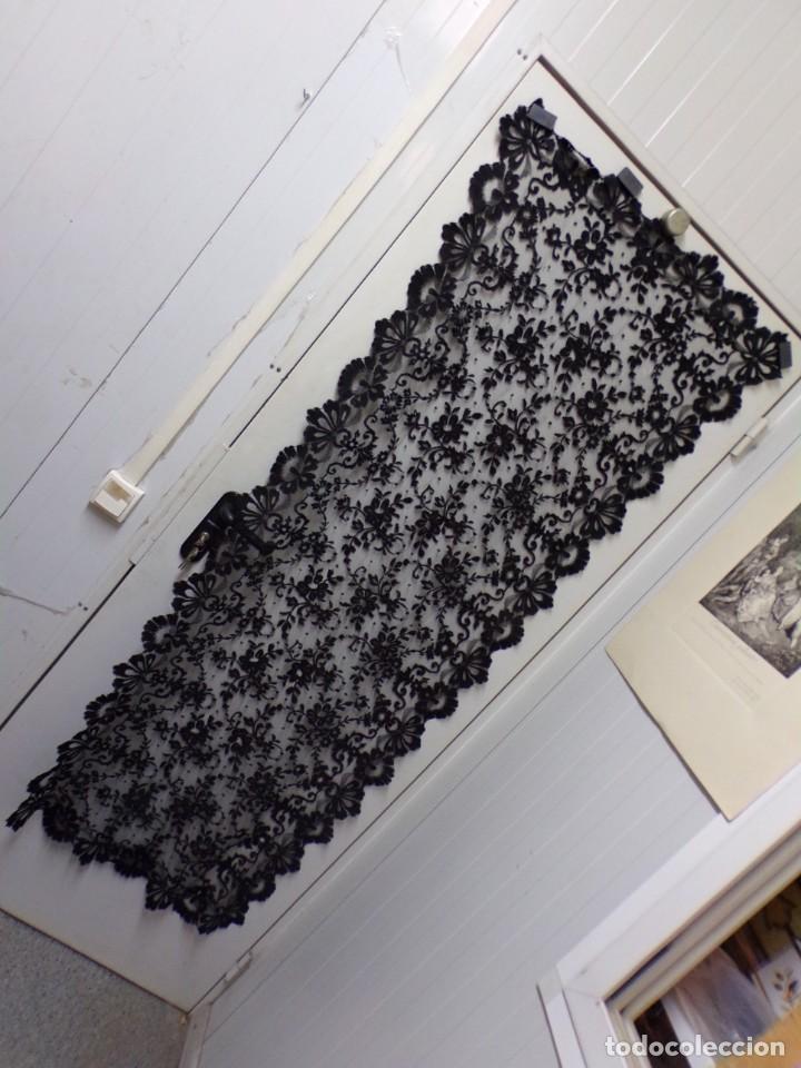 Antigüedades: antigua mantilla rectangular bonito trabajo decoracion floral - Foto 11 - 262366595