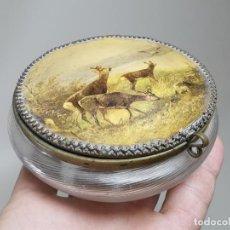 Antigüedades: POLVERA TOCADOR FINO CRISTAL SOPLADO CATALAN PRINCIPIOS SIGLO XIX. Lote 262384285
