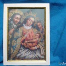 Oggetti Antichi: ANTIGUO PORTA RETRATOS CON LA IMAGEN DE LA SAGRADA FAMILIA. Lote 262461115