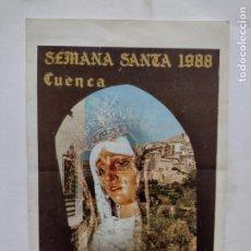 Antigüedades: SEMANA SANTA 1988 CUENCA - DIPTICO - ORDEN DE PROCESIONES - IMPRENTA MINERVA. Lote 262467630