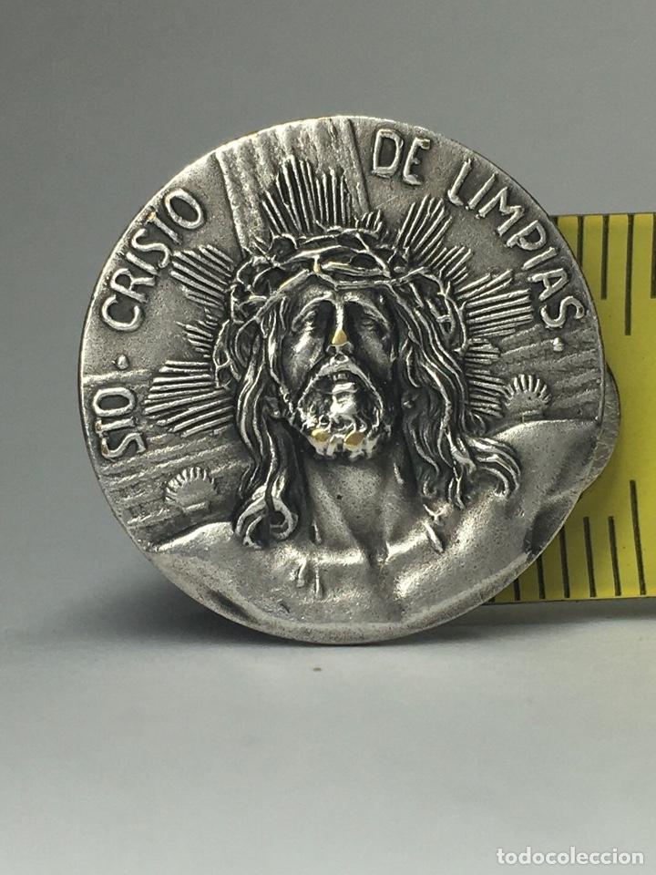 MEDALLA DE PLATA SANTÍSIMO CRISTO DE LA AGONÍA - CRISTO DE LIMPIAS CANTABRIA - CAMINO DE SANTIAGO (Antigüedades - Religiosas - Medallas Antiguas)