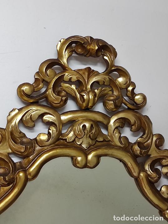Antigüedades: Bonito Espejo Antiguo - Cornucopia en Madera Tallada y Dorada en Pan de Oro - Foto 10 - 262525340