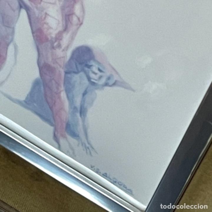 Antigüedades: Placa de porcelana de Algora enmarcada con un niño arlequín. - Foto 4 - 262545605