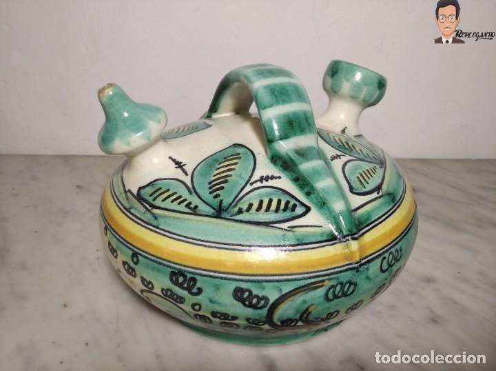ANTIGUO BOTIJO (LA PURÍSIMA) EL PUENTE DEL ARZOBISPO - TOLEDO - FIRMADO A.C.R. - CERÁMICA ESMALTADA (Antigüedades - Porcelanas y Cerámicas - Puente del Arzobispo )