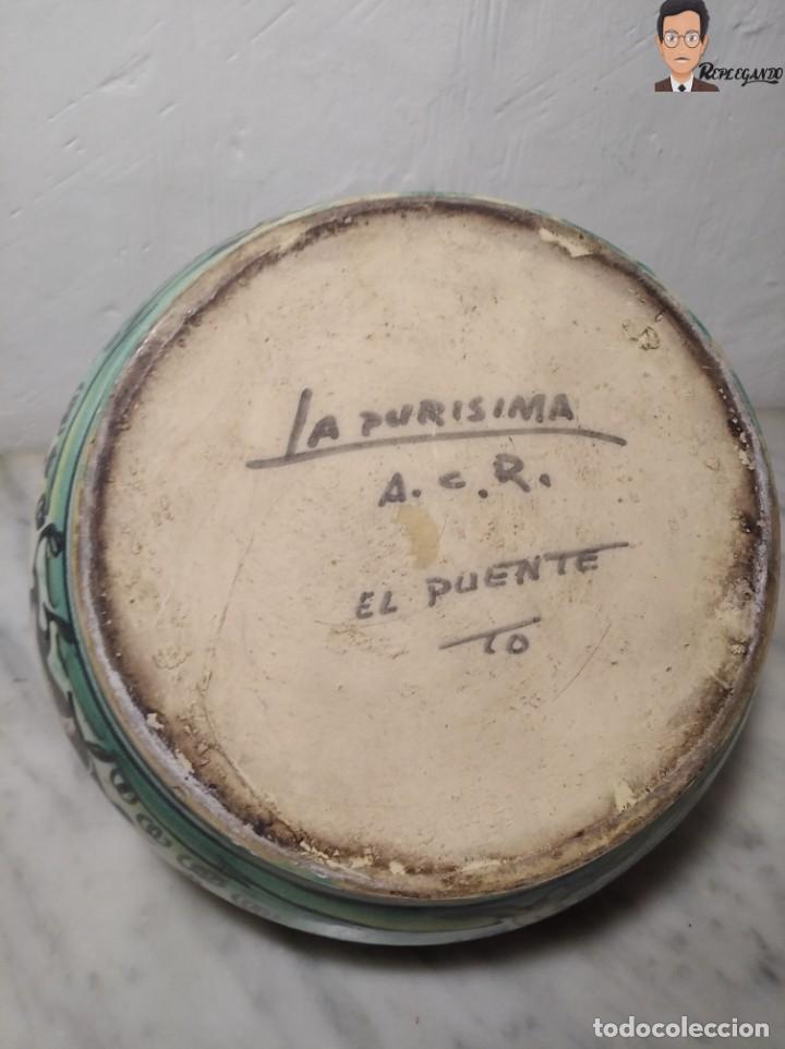 Antigüedades: ANTIGUO BOTIJO (LA PURÍSIMA) EL PUENTE DEL ARZOBISPO - TOLEDO - FIRMADO A.C.R. - CERÁMICA ESMALTADA - Foto 13 - 262576100