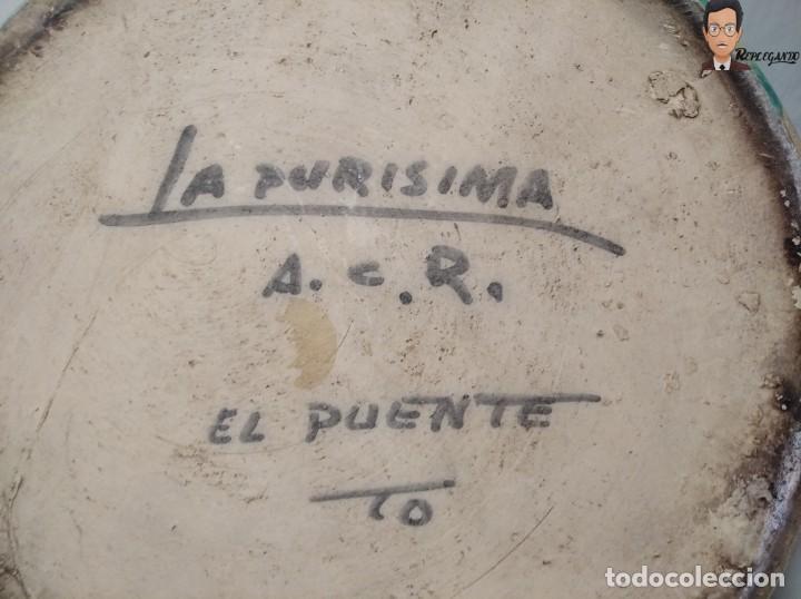 Antigüedades: ANTIGUO BOTIJO (LA PURÍSIMA) EL PUENTE DEL ARZOBISPO - TOLEDO - FIRMADO A.C.R. - CERÁMICA ESMALTADA - Foto 14 - 262576100