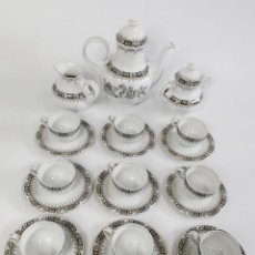 Antigüedades: ELEGANTE JUEGO DE CAFÉ DE PORCELANA ESPAÑOLA SANTA CLARA.. Lote 262577975