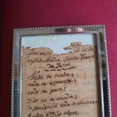 Antigüedades: VERSO SANTA TERESA ÁVILA S XVI. RELIQUIA RELICARIO.. Lote 262599695