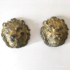 Antigüedades: CABEZA DE LEÓN - PAREJA - METÁLICAS POSIBLEMENTE BRONCE. Lote 262600245