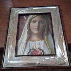Antigüedades: PORTA RETRATOS ARGENTO 925 CON FOTO VIRGEN. Lote 262603215