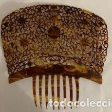 Antigüedades: EXCEPCIONAL PEINETA EN SÍMIL DE CAREY DE GRANDES DIMENSIONES. EN IMPECABLE ESTADO.. Lote 262604935