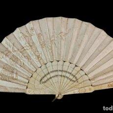 Antigüedades: ABANICO HUESO CALADO Y SEDA BORDADA. CA 1840. HAND FAN. PIERCED BONE, SILK EMBROIDERY. 27CM. Lote 262625705