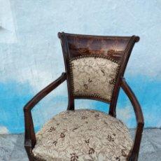 Antigüedades: ANTIGUA SILLA DE MARQUETERÍA Y TAPIZADO DE RASO.. Lote 262642025