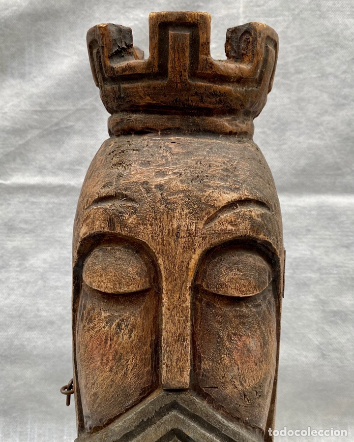 Antigüedades: Botellero o guarda botella de madera tallada antiguo - Foto 2 - 262642180